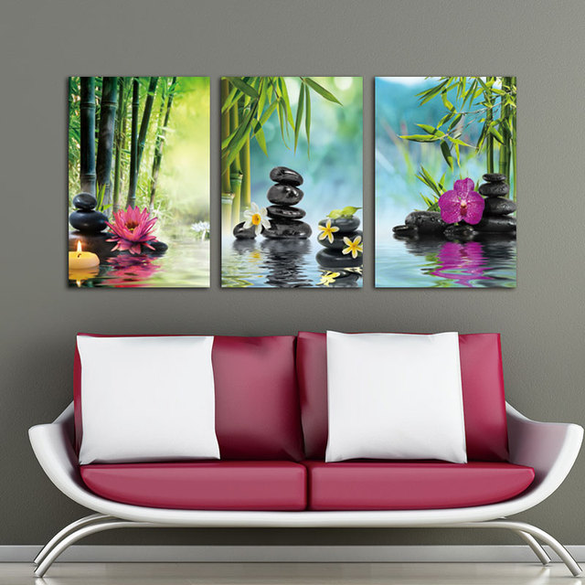 Canvas Painting Wall Art Picture Decor SPA Stone Green Bamboo Pink 3 Panels  Modern Zen Canvas