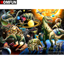 HOMFUN 5D DIY Full Diamond Embroidery Dinosaur Planet Painting Cross Stitch Rhinestone Home Decoration A07027