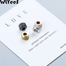 WLYeeS 2pcs Geometric White Zircon Charms Copper beads 8mm Cylinder CZ Metal Spacer Loose for Jewelry making bracelets DIY