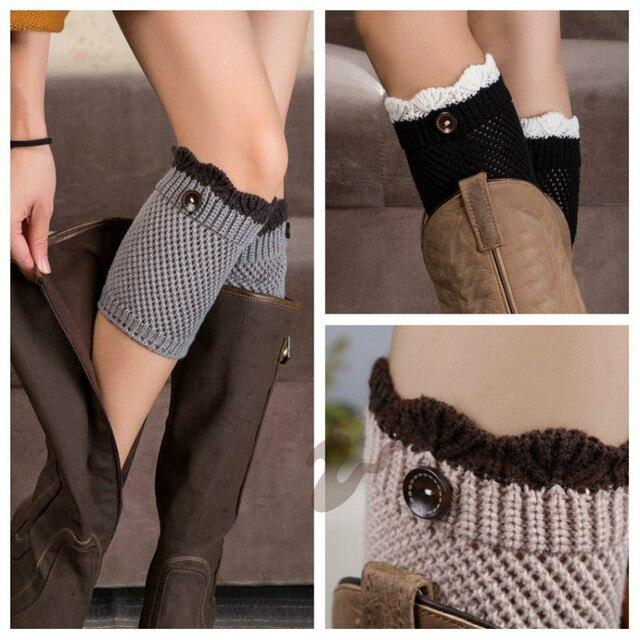 New 2017 Women Knit Boot Cuffs Acrylic Cable Pattern Boot Socks