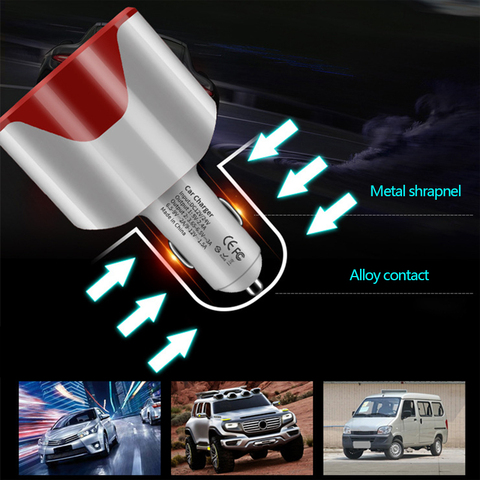 QC3.0 Car Charger Cigarette Lighter Socket 12-24V 2 USB Port Dual USB Mobile Phone Adapter Fast Charge Auto Electric Accessories Islamabad