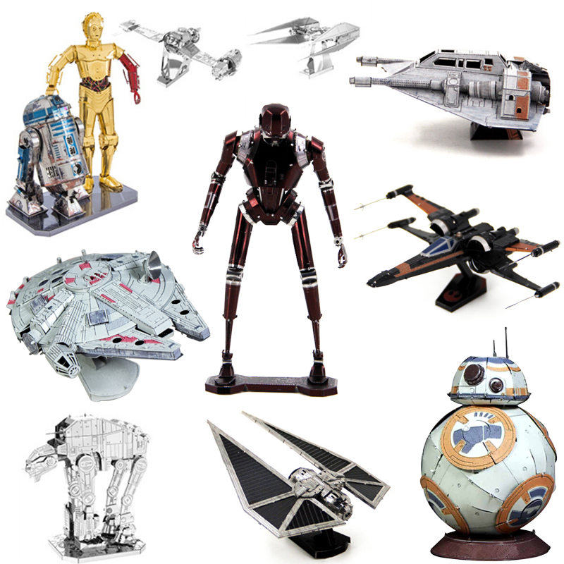 Painted Star Wars 3D Metal Puzzle C3PO Shuttle TIE Fighter X Wing MIni BB-8 Robot Puzzle ...