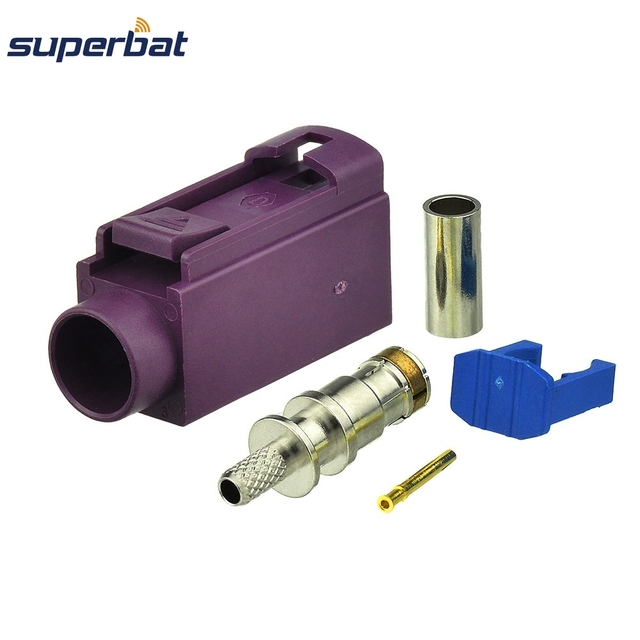 Superbat 10 pièces Fakra sertissage Jack connecteur pour voiture violette GSM téléphone cellulaire pour câble RG316 LMR100
