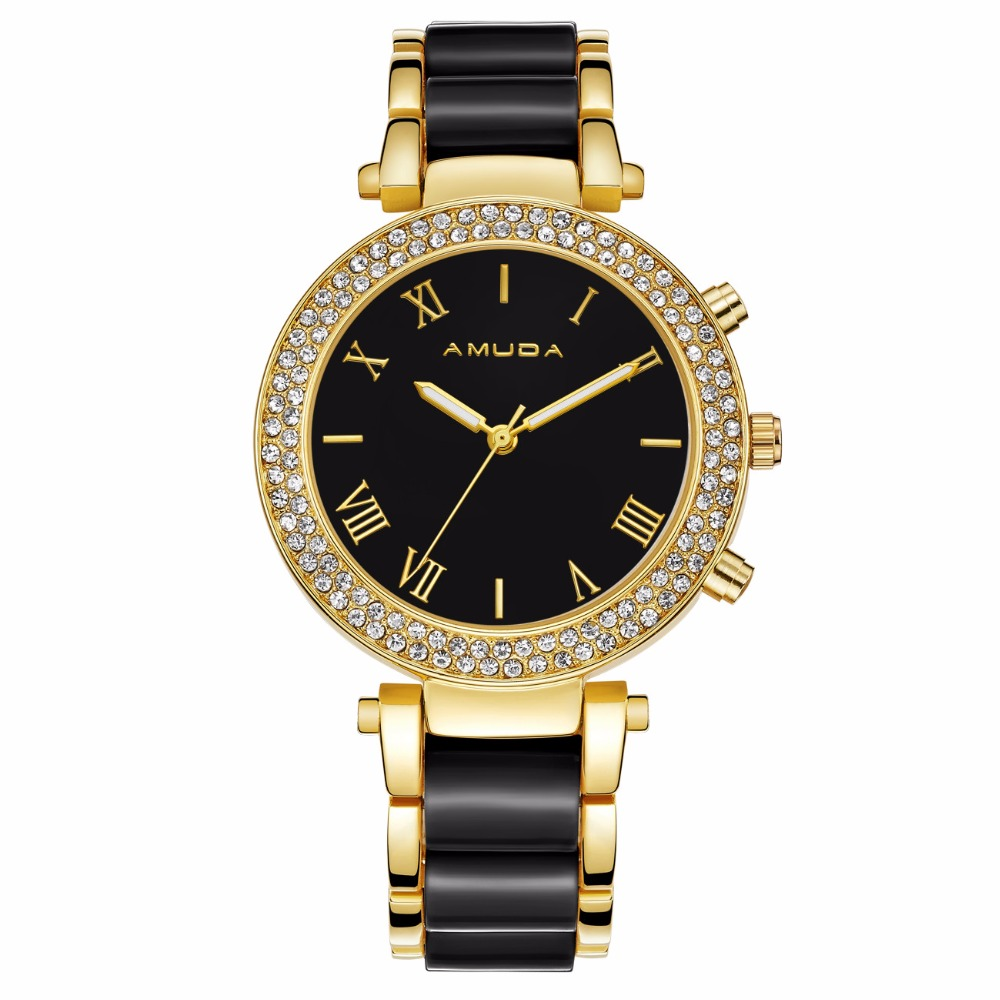 Amuda Diamonds Rhinestone Watches Luxury Style Ladies Dress Wristwatches Women Fashion Quartz