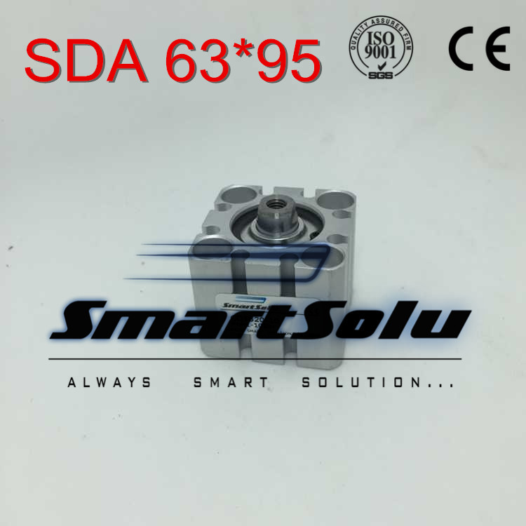Free Shipping SDA 63*95 63mm bore 95mm stroke double acting valve actuator cylinder pneumatic SDA63-95 compact air cylinders high quality double acting pneumatic gripper mhy2 25d smc type 180 degree angular style air cylinder aluminium clamps