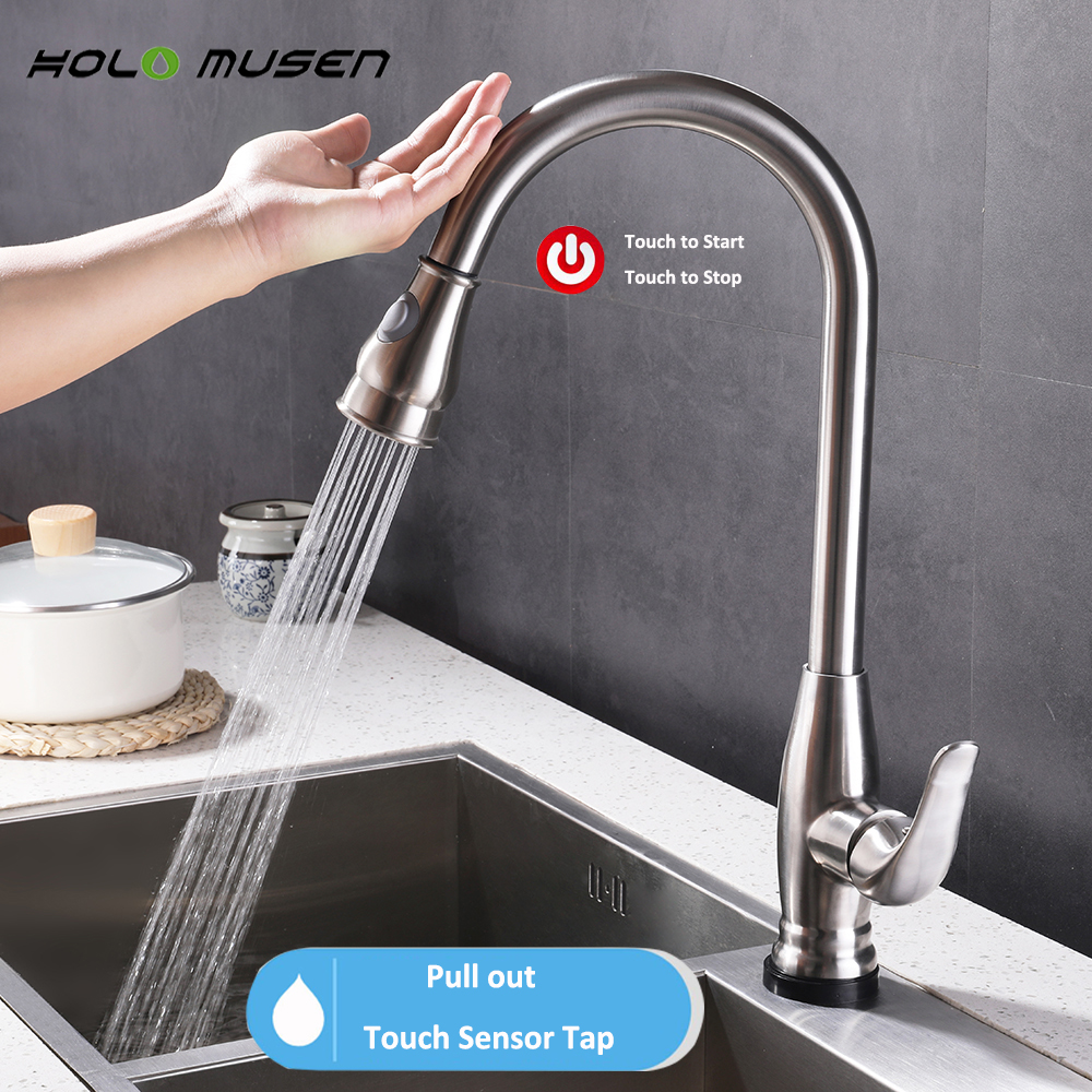 купить New Lead-Free Stainless Steel Touch Faucet Kitchen Sensitive Touch Control Faucet Mixer Tap Pull Out Sensor Kitchen Faucet недорого