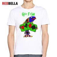 Redbella kawaii تي بطاقة الرسومات عبة ذهاب الأسماك الرجعية مضحك محاكاة ساخرة مضحك مطبوعة الشعبية القطن قمم camisa الغمد