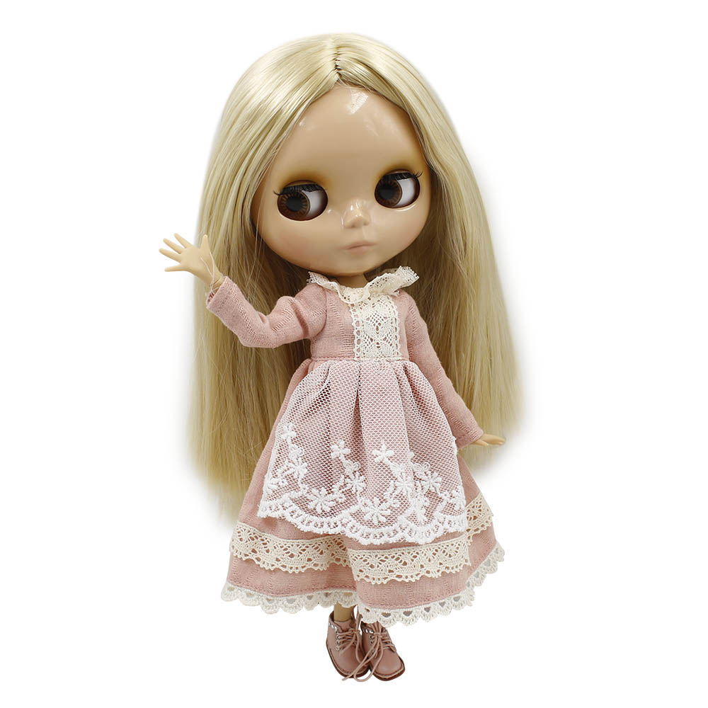 Blyth 1 6 Joint Body Nude Doll 30cm Blond Straight Hair Tan Skin with Big Breast