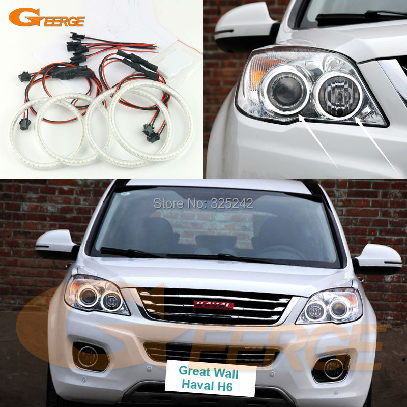 For Great Wall Haval H6 2011 2012 2013 2014 2015 Excellent Ultra bright illumination smd led Angel Eyes Halo Ring kit