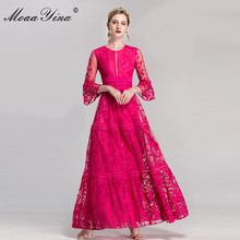 Runway Dresses Embroidery Lace Moaayina Winter Women Maxi Flare-Sleeves Party Hollow-Out