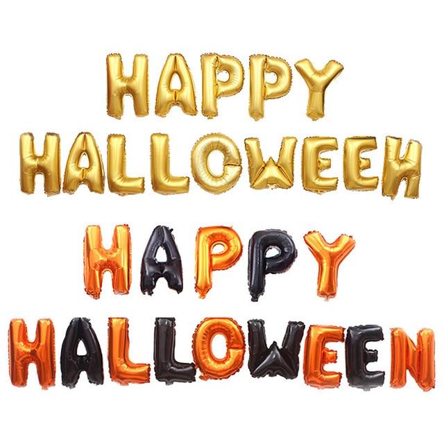14 adet cadılar bayramı balon mektup setleri mutlu cadılar bayramı partisi süslemeleri alüminyum folyo balon kitleri/lot ortam sahne düzeni
