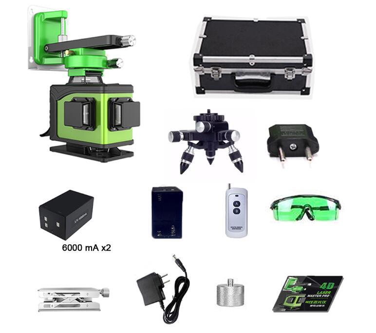 Nível laser de linha 16 line3D 12 360 Vertical E Horizontal Nível de Auto-nivelamento A Laser Linha Cruzada 3D Laser Verde nível com ao ar livre