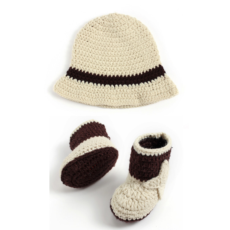 ae9d45ad8b4d9f Fashion Beige Color Baby Boy Western Cowboy Hat&Booties Set Infant Baby  Shower Gift Newborn Photography Props Crochet MZS 15066-in Hats & Caps from  Mother ...