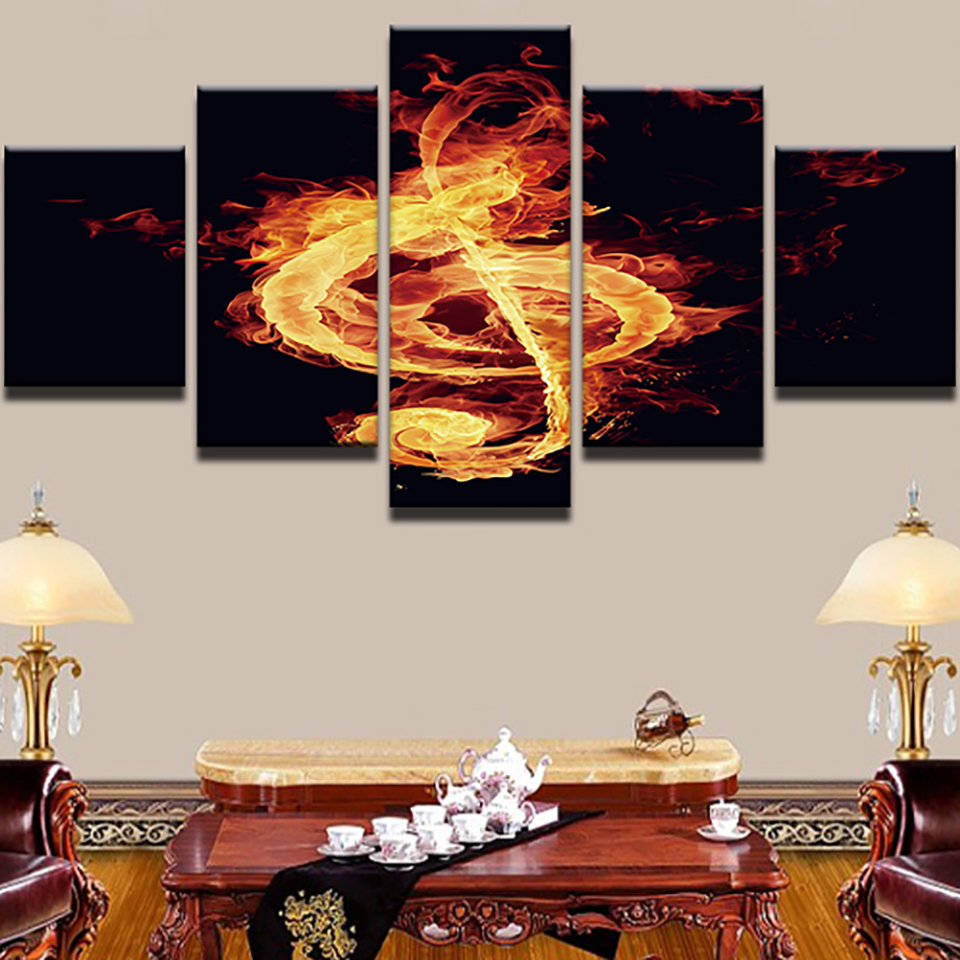 Modern Painting HD Printed Pictures On Canvas Home 5 Pieces/Pcs Flame Music Notes Decoration Posters Frame Living Room Wall Art