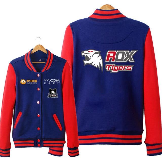 ROX Tigers LOL S6 Unisex Hoodies Cosplay Sweatshirt Autumn and winter Baseball Jacket for men women Hoodie Free Shipping