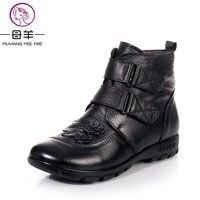 Plus Size 35 43 Autumn Winter Women Genuine Leather Flat Snow Boots 2014 New Fashion Ankle