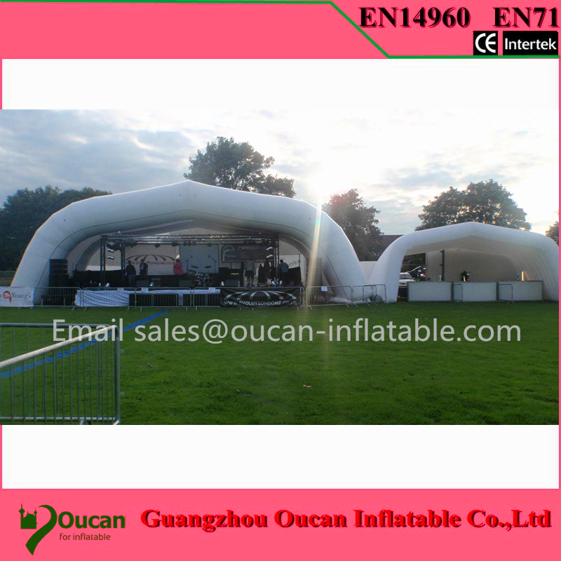 10X8X3.5Mwhite and sliver oxford cloth inflatable stage tent , inflatable party tents for events+free shipping  6 8x4x3 4m oxford cloth inflatable stage tent inflatable stage cover inflatable canopy tent for concert with free shipping