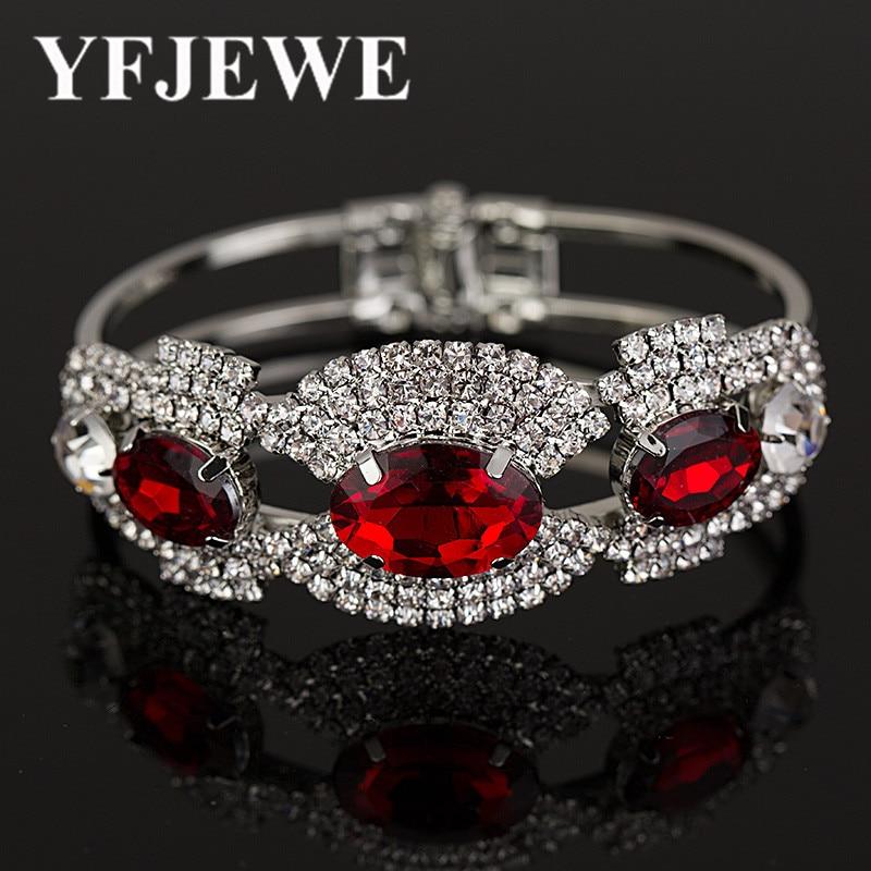 2017 розкішні кришталеві браслети для жінок срібні браслети та браслети Femme весільні ювелірні прикраси браслети B012