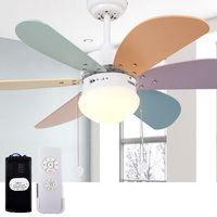 KF A0601 36 Inch Ceiling Fan light 220v 55W LED 6 Blades Fans lights with Romote Control for 10 15 Square meters Children Room
