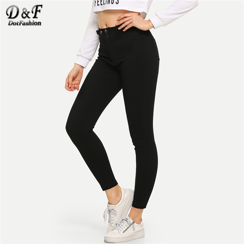 Dotfashion Black Solid Button Waist Ankle Skinny   Jeans   Woman 2019 Autumn Casual Pencil Pants Ladies Streetwear Denim Trousers