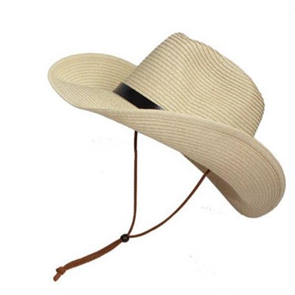 Men Wide Brim Hat Summer Beach Straw Cap Sun Floppy Foldable Hats for Adults 3b06a250667