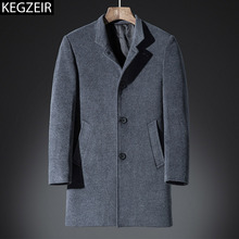 KEGZEIR 2019 New Brand Men Winter Long Coat Casual Fashion Mens Overcoat Slim Thick Warm Coat