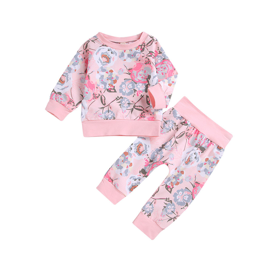 Suit Girls Toddler Pants Flowers Long-Sleeve Kids Children 2pcs Print-Tops