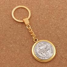 30mm keychain Saint Benedict Exorcism Medal Catholic Cross Pendants Key Rings Travel Protection K1697