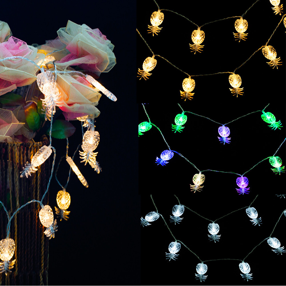 christmas lights outdoor 20LED Battery Box Pineapple Garden Christmas Bulb String 2017 Hot Sale wedding decoration Fairy Lights
