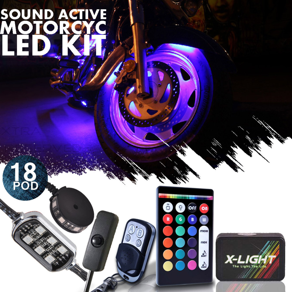 X-LIGHT 18pcs Light Pods Motorcycle Accent Under Glow Neon Light Kit Push Button RGB Brake Fuction & Music Active