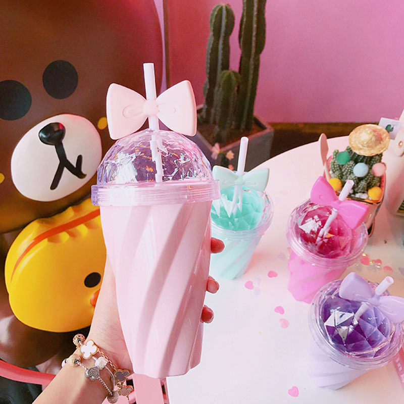 Lovely 400ML Candy Color Lemon Juice Coffee Cup Bowknot Straw Cup With Lid Straw Water Plastic Cup