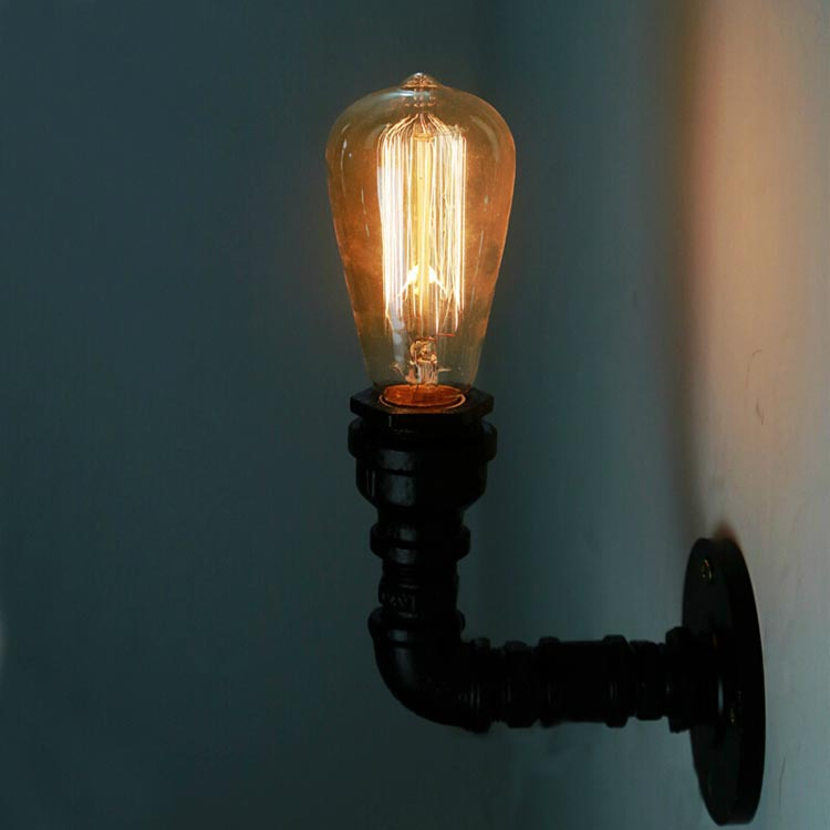 Loft Vintage Nostalgic Industrial Water Pipe Edison Wall Sconce Lamp Resturant Hotel Bar Stair Home Modern Lighting Fixture america rustic vintage pipe wall lamp in loft industrial style stair light edison wall sconce arandela lampara aplik