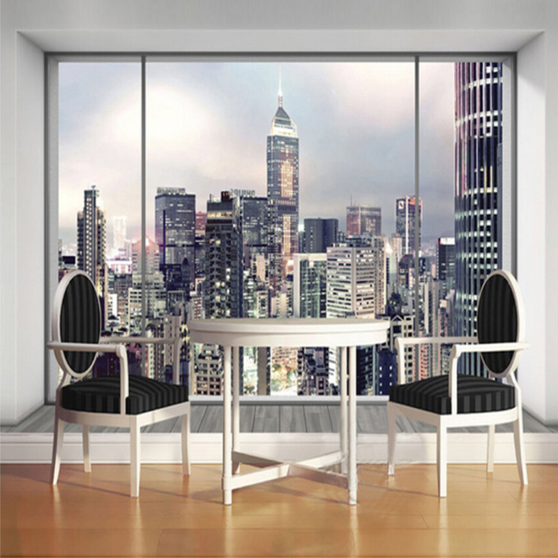 Beibehang custom mural 3d window city landscape wallpaper for City wallpaper mural