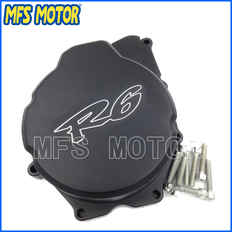 Freeshipping Motorcycle Left side Billet Motor Engine Stator cover For Yamaha YZF-R6 YZF R6 2006-2013 Black aftermarket free shipping motorcycle parts billet engine stator cover for honda cbr1000rr 2008 2013 chrome left side