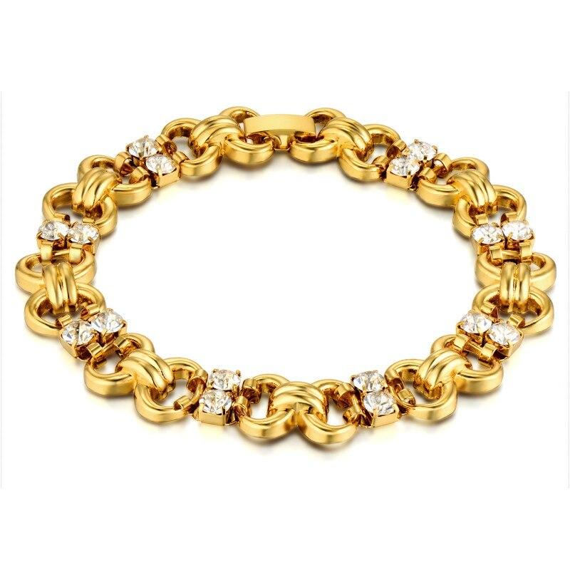 Trendy Gold Color Rhinestone Bracelet For Women Female Gift Wholesale Braslet 2018 Fashion Bijoux Jewelry