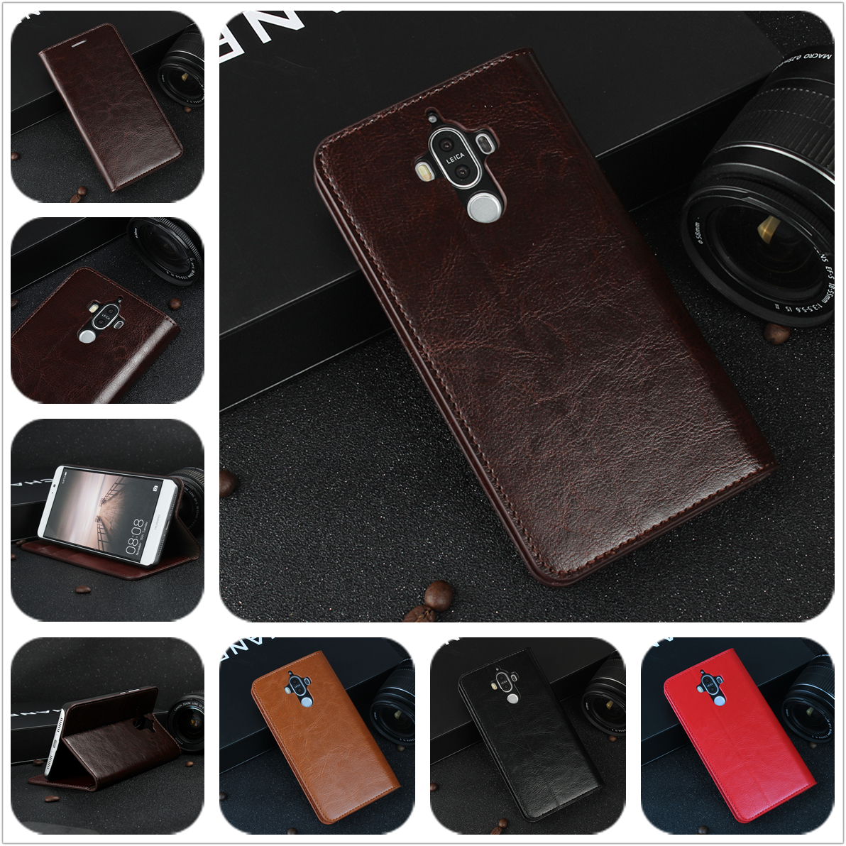imágenes para De lujo Caja de la Carpeta para Huawei Ascend Mate 9 premium funda de piel Cubierta Del Tirón para Huawei Mate 9 Bolsos Del Teléfono