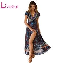 LIVA GIRL Bohemian Floral Print Beach Maxi Dress 2019 Summer Women Sexy Wrap V Neck Short Sleeve Split Boho Long Party Dresses