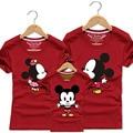 Familia Mickey Trajes A Juego T shirt Ropa Para Padre Lun Hija e Hijo 2016 Verano Madre e Hijo Lindo Trajes de Ropa de la Parte Superior