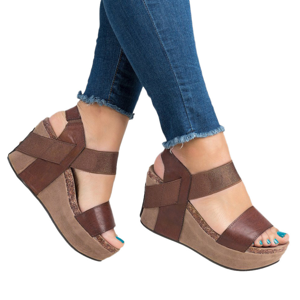 Sandal Shoes Elastic-Band Open-Toe Casual Wedges Female Women Zapatos-De-Mujer Breathable title=