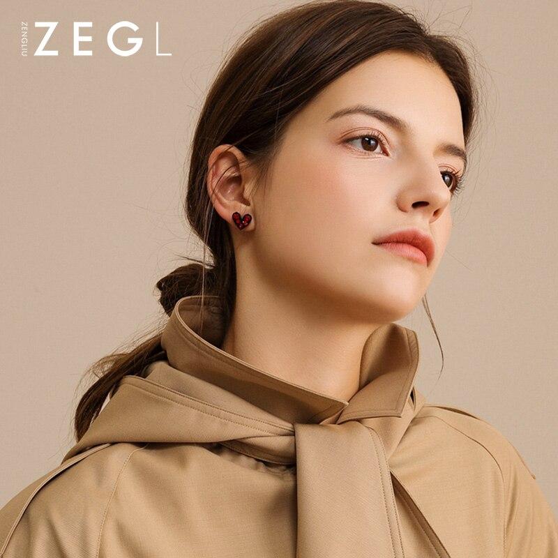ZEGL Love Earrings Women 39 s Earrings Red Stud Earrings Fall Winter Earrings in Stud Earrings from Jewelry amp Accessories