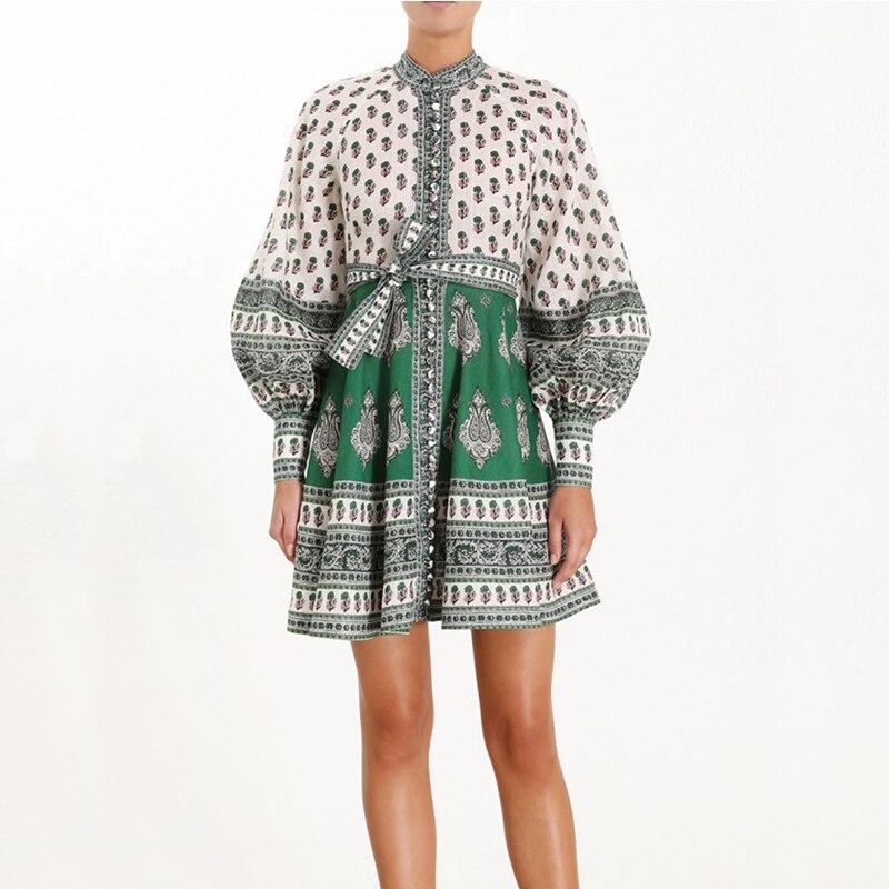 Vintage lanterne manches imprimé Mini robe 2019 femmes mignon volants Designer robe de piste Vestidos