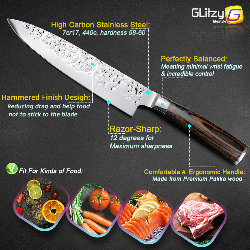 Kuća i bašta ... Kuhinja i trpezarija ... 32800950776 ... 4 ... Kitchen Knife 8 inch Professional Japanese Chef Knives 7CR17 440C High Carbon Stainless Steel Meat Cleaver Slicer Santoku Knife ...