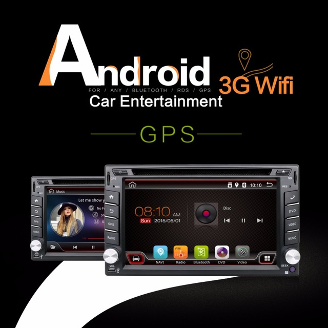 2016 Newest 2 Din 100% Pure Android 4.4 Universal Car Dvd Player PC GPS Navigation Stereo Video Multimedia Capacitive Screen