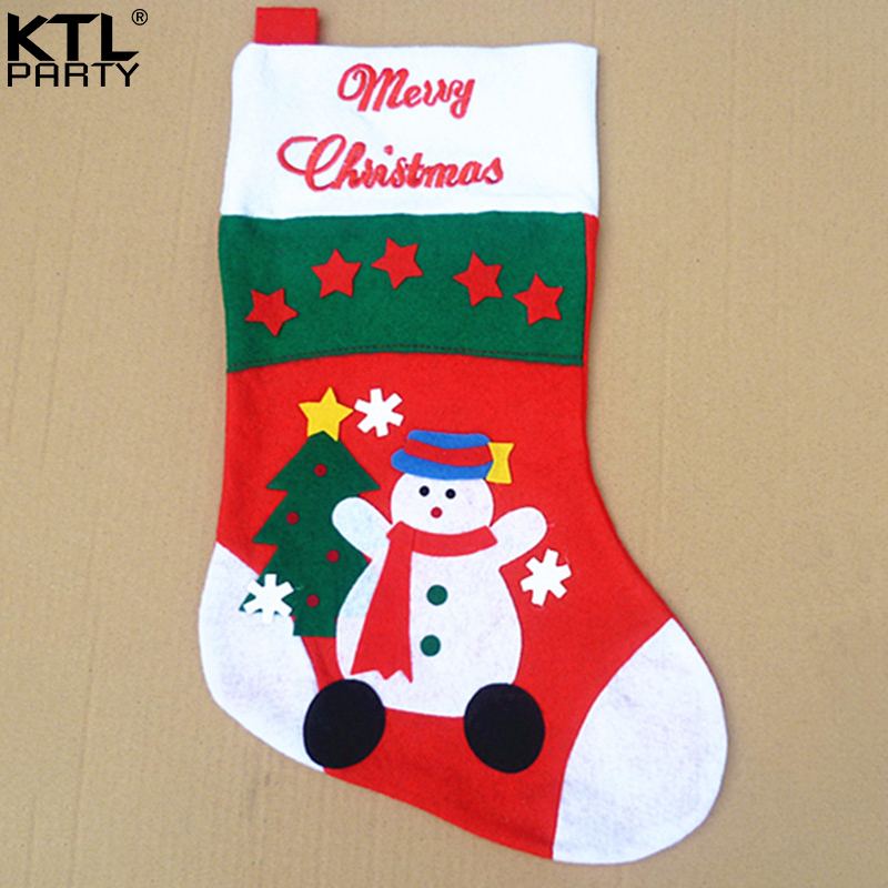 US $26.4 20% OFF KTLPARTY 10pcs/lot 41cm Christmas cartoon stocking  children new year present kids snowman christmas socks free shipping-in  Stockings ...