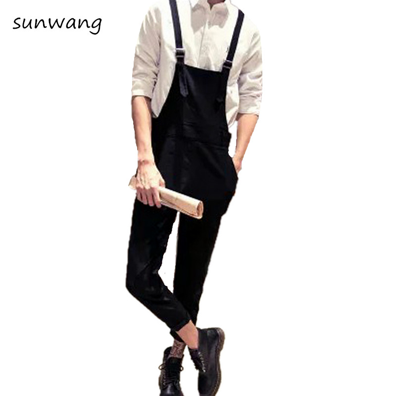 2019 Casual Pants Army Green Bib Overalls Hip Hop Male Romper Casual Loose Pants New Arrival Jumpsuits Men Suspender Trousers Pants