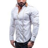 4XL Casual shirt mannen slim fit big size zwart Witte mannelijke jurk shirts winter lange mouwen katoenen blauw hawaiian sociale Herfst shirt