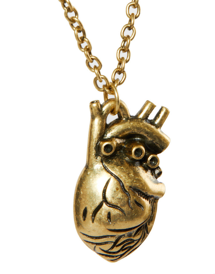 QCOOLJLY Unique Anatomy Of Hollow Organ Heart Pendant Necklace Vintage Healthy Heart Necklaces 2017 Fashion Jewelry