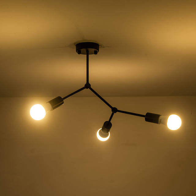 現代の鉄ledシーリングライトアートpandant ledシーリングライトリビング研究ルームベッドルームホームデコレーション3/4/6ヘッド
