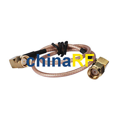 WIFI Antenna extension RP-SMA male right angle to RP-SMA right angle male RG316