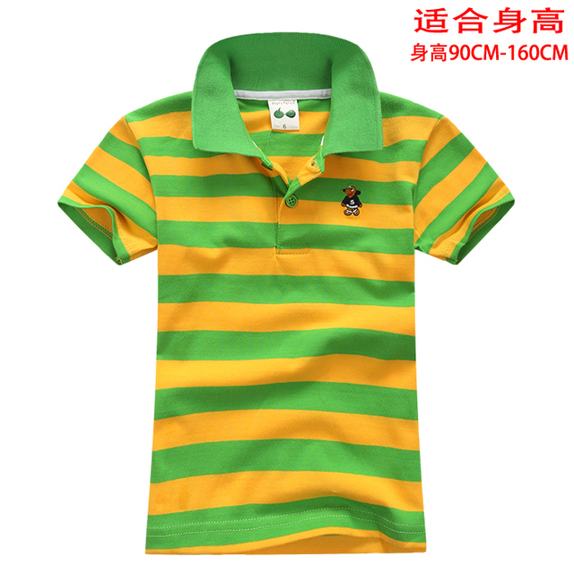 Children's clothing summer child male child stripe polo shirt child T-shirt 100% short-sleeve o-neck cotton t-shirt